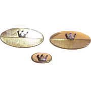 Pair of Swank cufflinks and matching tie tack with crown emblem
