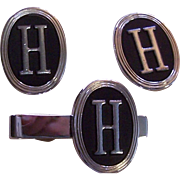 """Swank"" Cufflinks and Tie Bar Set with the initial ""H"""