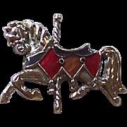 Silver and Enamel Vintage Carasol Horse Brooch