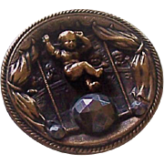 Circus Theme Vintage Button of a Boy Balancing on a Cut Steel Ball