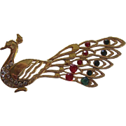 "Realistic Peacock Brooch ""Bling"""