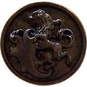 Heraldic Rampant Vintage Picture Button