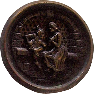 Rumpelstiltskin Story Button with Screen Background, Large size.
