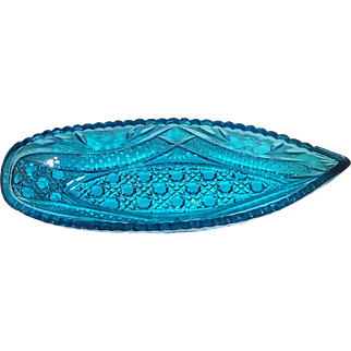 A beautiful vintage Kemple Deep Blue Glass Canoe shape Dish