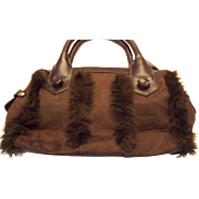 Vintage Avon Brown Suede purse with leather trim and faux fur trim