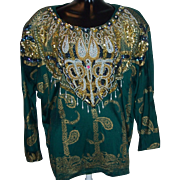 Heavily Jeweled Ladies Vintage Blouse by Bali