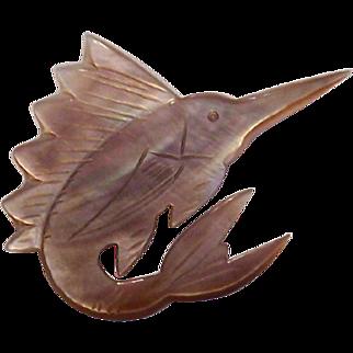 Mother of Pearl Swordfish Pin