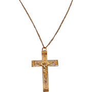 Vintage Lucite and Brass Crucifix from France