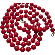 Christmas Red bead necklace by Monet
