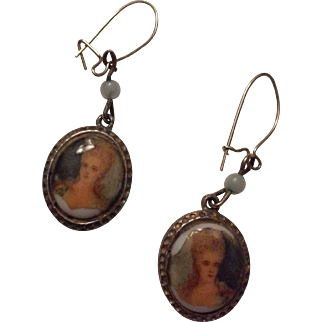 Portrait on ceramic disc earrings
