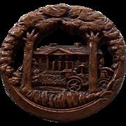 Burwood vintage button with scene