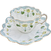 Beautiful Wileman Foley interest teacup and saucer, ca 1900 Art Nouveau