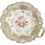 Antique dinner plate, Rococo Revival period ca 1845, moulded and hand painted