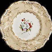 Antique Coalport bone china dinner plate, hand painted flowers Regency/Rococo Revival ca 1830s