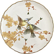 Antique Aesthetic Movement dinner plate, relief moulded birds and foliage, 1880s
