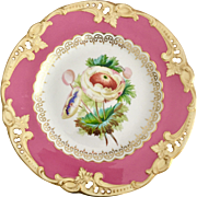 Antique Old Paris dinner plate, pierced pink with hand painted ranunculus, ca 1825