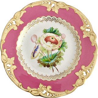 Antique dinner plate, pierced pink with hand painted ranunculus, ca 1825