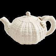 Belleek Tridacna teapot, cream eggshell porcelain, 2nd Black Mark 1891-1926