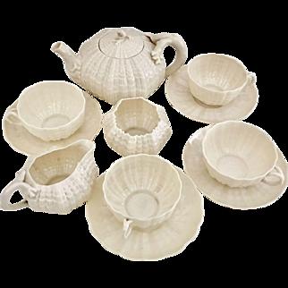Belleek Tridacna tea service for 4, 2nd Black Mark 1891-1926