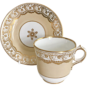 Antique Brown-Westhead & Moore (ex-Ridgway) coffee/teacup and saucer, 1864