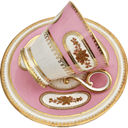 Antique Victorian Brown-Westhead & Moore tea/coffee cup, hot pink and gilt, 1875
