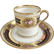 Antique Brown-Westhead & Moore coffeecup, gilt and hand painted flowers, 1870