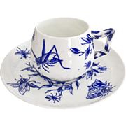 Antique Brown-Westhead & Moore demitasse cup, Aesthetic Movement insects, flow blue and embossed 1873