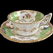 "Antique Coalport ""Batwing"" teacup in chartreuse green, 1914"