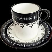 Antique English Coalport demitasse coffeecup, fine bone china, 1891-1920