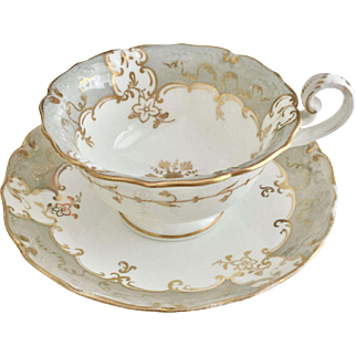"Antique Coalport ""No 7"" cup in subtle grey and gold, ca 1830"