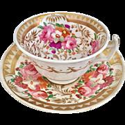 "Antique Coalport ""London"" cup and saucer, Regency period 1812-1825"