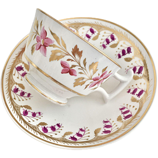 Antique Georgian Coalport cup and Spode saucer, ca 1820