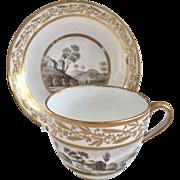 Antique John Rose Coalport teacup with grey monochrome landscapes, ca 1805
