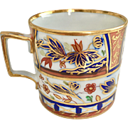 Coalport orphaned coffee can, Imari style with French handle, 1800-1810