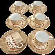 Coalport Thomas Rose 6 coffee cans, gilt & orange pattern, Regency ca 1815