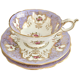 Antique Coalport teacup trio with lilac, gilt and roses, 1881-1891