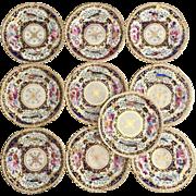 Antique set of 10 dinner plates, Coalport 1820-1825, spectacular hand painted birds