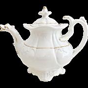 "Antique Coalport ""Duck Spout"" teapot, Rococo white and gilt ca 1830"