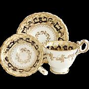 "Antique Coalport tea/coffee cup trio, ""Phoenix"" patt 4/375 on Adelaide shape, ca 1840"