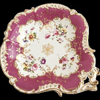 Antique Coalport dessert serving dish, Rococo patt. 3/139 pierced border and extraordinary hand painted flowers, ca 1830