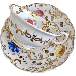 "Antique H&R Daniel ""Shell"" teacup with hand painted flowers, Regency Rococo Revival ca 1830"