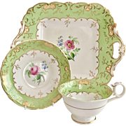 Rare set of teacup and large plate, H&R Daniel, Rococo Revival ca 1840