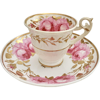 Antique H&R Daniel coffeecup, pink roses on Spode's Bell shape, very rare early model ca 1822