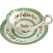 Antique H&R Daniel teacup, Sutherland shape, jade green and hand painted flowers ca 1830