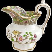 Antique Georgian Davenport table jug, porcelain, Indian Tree pattern 1820s