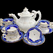 Fabulous antique Rococo tea set with Duck Spout teapot, Davenport and Coalport, ca 1830