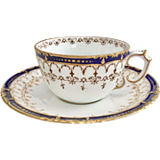 Antique Victorian Royal Crown Derby teacup, cobalt blue and gold, 1898