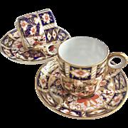 Two Antique Royal Crown Derby demitasse cups, Imari pattern, 1900