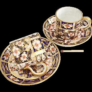 Two Antique Royal Crown Derby demitasse cups, Imari patt 2451, 1899 and ca 1920
