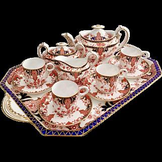 Antique Royal Crown Derby cabaret tea set, pattern 2712, 1892, stunning condition